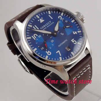 42mm Corgeut mechanical auto wrist watch men waterproof leather bracelet steel power reserve blue dial luminous date window 122