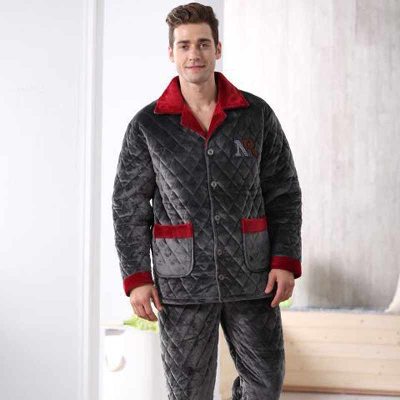 Men's Pajama Sets Mens Geometric Patterns Pajama Sets Yarn Weave Cotton Men Pajamas Comfy Sleepwear Men Plus Size M-4xl Soft Nightgown Pyjamas