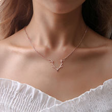New High Quality 3 Colors Fashion jewelry gold silver Rose gold elk deer antlers pendant necklace for women girl gift drop ship(China)