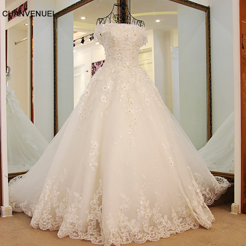 LS98850 Princess Wedding Gowns Sweep Train Lace up Back Luxury Lace Wedding Dress Bride Dresses Robe De Mariage Hochzeitskleid