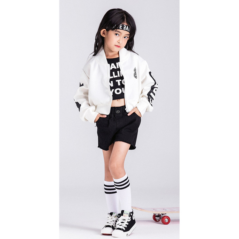 Children Girls Jazz Dance Costumes White Long-sleeved Cardigan Jacket  Boys  Girls hip hop Dance Halloween Party Clothing