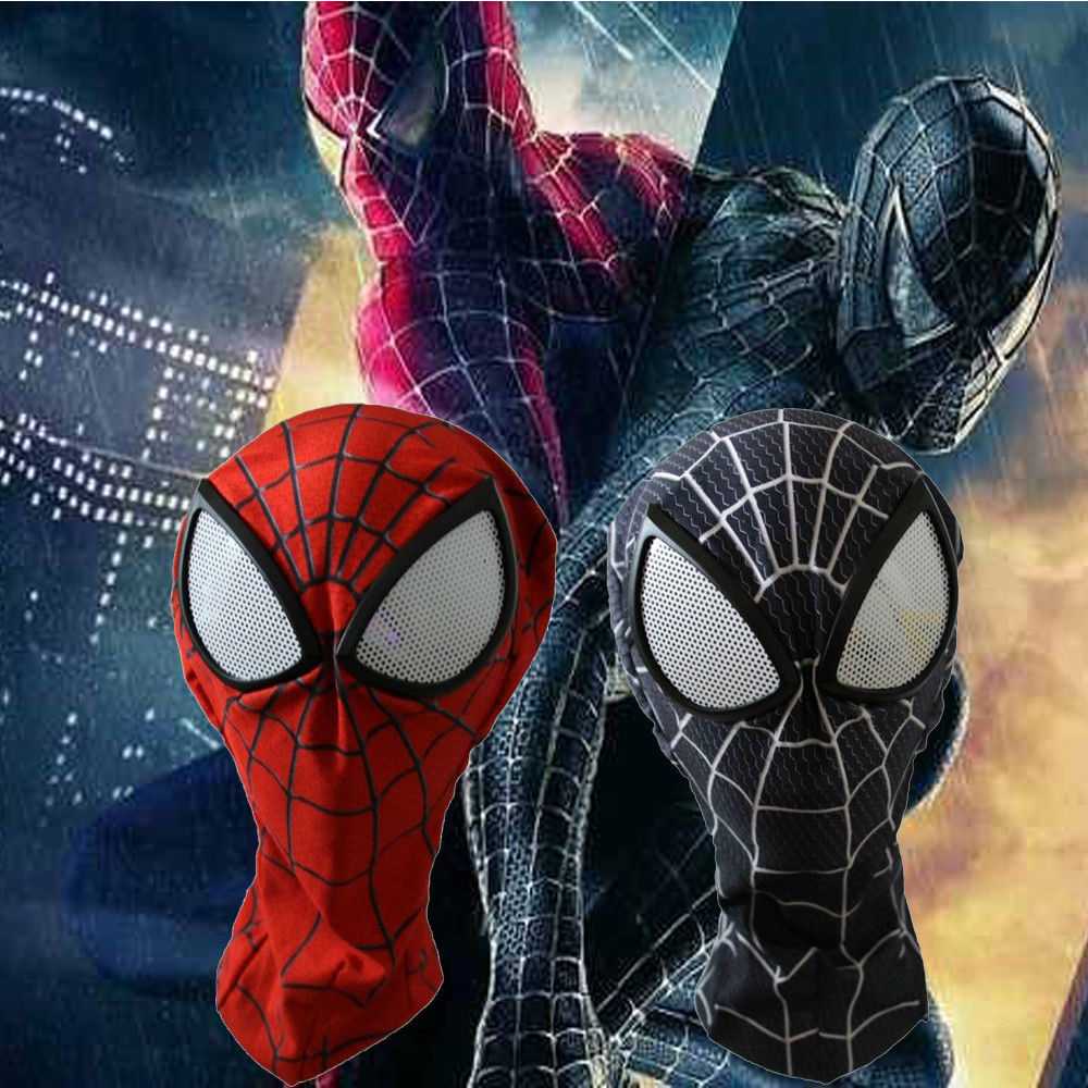 3D Amazing Spiderman Black Red Mask Adult Superhero Lenses Full Head Venom Cosplay Costume Hood Halloween Party Masks Super Cool