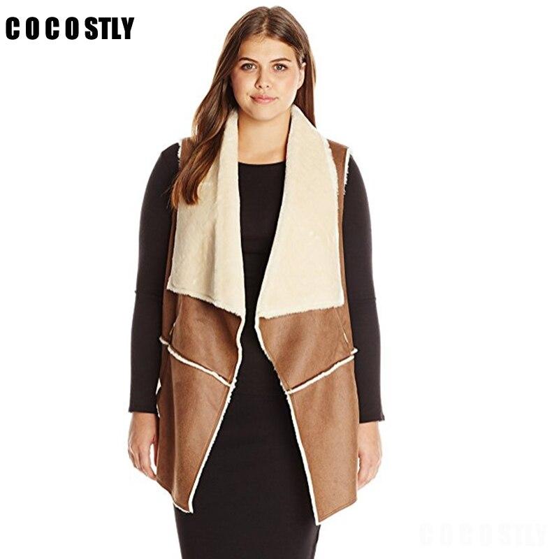 Colete de inverno feminino camurça quente velo turn-down collar colete casacos sem mangas magro tops outerwear casaco colete feminino