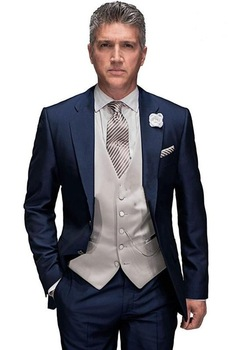 2017 New Morning Style Men Suits Groom Tuxedos Handmade Notch Collar Back Vent Men's Formal Prom Suits (Jacket+Pants+Vest+Tie)