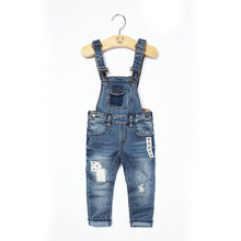 2016 Classic spring autumn child overalls infant soft denim bib pants boy OR girl jeans casual trousers Button patch kids jeans