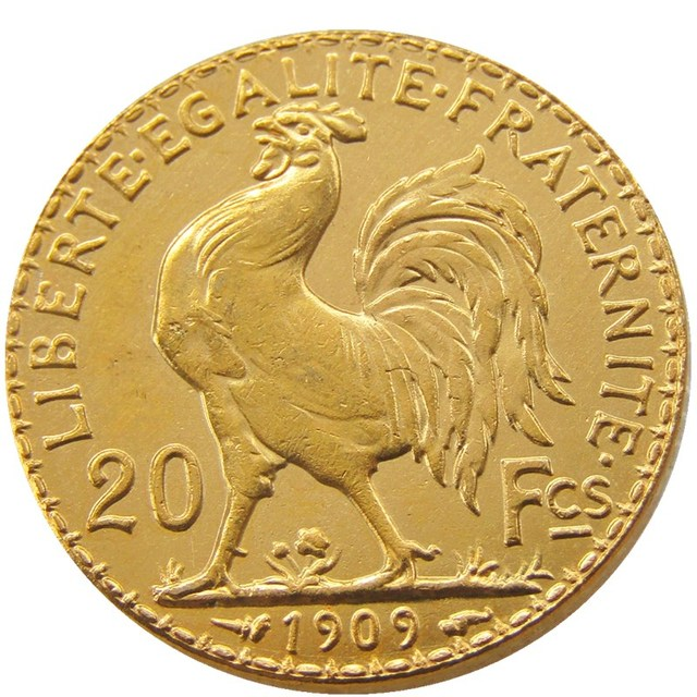 France 20 Francs 1909 Rooster Gold Plated Copy Coin Free Shipping