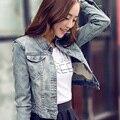 Denim casaco feminino casaco 2016 mulheres novo outono inglês palavra impressão remendo denim da longo-luva tops jaqueta curta outwear LH116