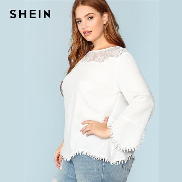 SHEIN Plus Size White Sheer Lace Shoulder Trim Flare Sleeve Women Blouses Spring Summer New Elegant Wavy Hem Solid Top Blouse 2