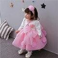 2017 Весна Лето Новый Хлопка Младенца Платье Сто Дней Детская Одежда 0-3 Лет Принцесса Девушки Одеваются Розовый Цвет
