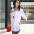 Плюс Размер женщин блузки 2016 летний новый хлопок Корейской моды стоячим воротником женщин с длинным рукавом 4xl 5xl 6xl