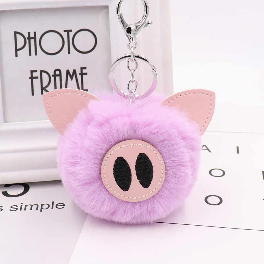 Moda Imitação de Pele De Coelho Bola Pompom Keychain Porco Chaveiro Pompom Pom Pom Animais Anel Chave Da Corrente Chave Das Mulheres Saco Saco de Jóias