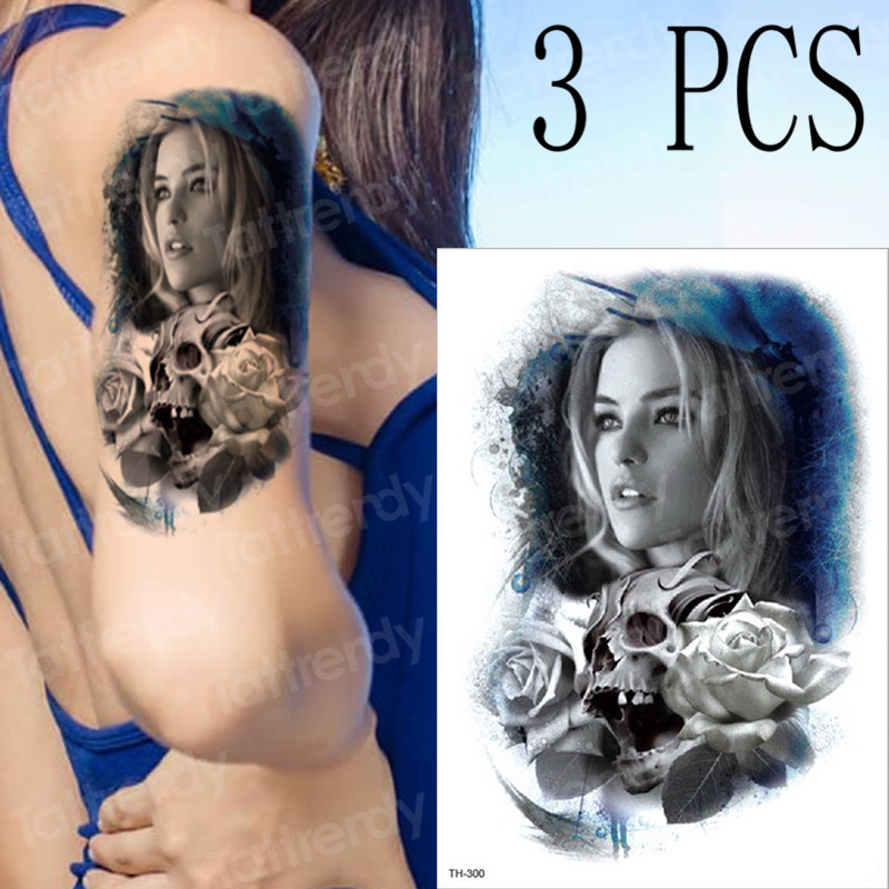 3pcs/lot Blue Enchantress Temporary Tattoos Rose Sugar Skull Tattoo Sticker Mexican Day Of The Dead Halloween Body Stickers New