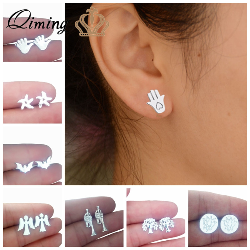 299b5bb34da5f US $0.49 51% OFF 2018 New Stud Earrings For Women Hamsa Hand Starfish Angle  Tree Cute Design Silver Wholesale Jewelry Cheap Earring Gift-in Stud ...