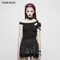 PUNK RAVE Women Casual Daily Short Sleeve T shirt Fashion Personality Gothic Strapless Women T Shirt Korean Style Summer T shirt