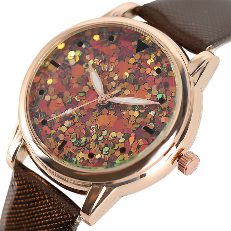 Fashion Blink Sequin Women Watches Luxury Elegant Ladies Dress Quartz-watch Leather Strap Analog Wrist Watch Relogio Feminino fashion dress watch elegant crystal dial red faux leather band strap blink quartz analog casual lady women wrist watch stylish