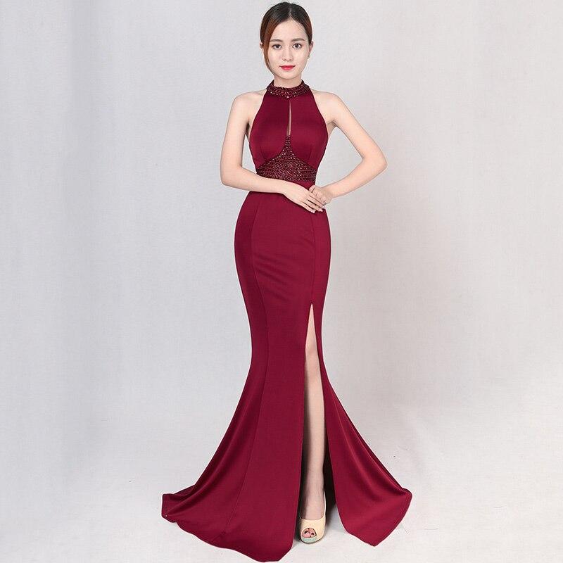 Wine Red Crystal Beading Halter Sleeveless Backless Open Slit Long Mermaid Woman Elegant Dresses For Party Club Dress