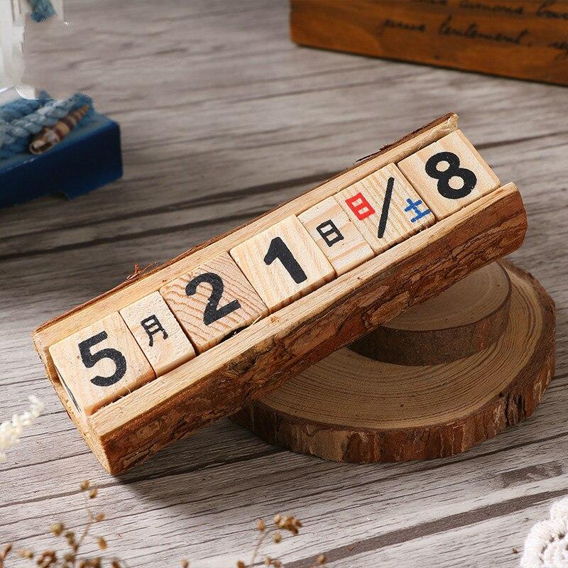 Wood Calendar Date Retro Home Wine Cabinet Decoration Living Room Tabletop Desk Small Ornament Creative Arts and Crafts Decor