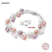 MeiBaPJ High Quality Lady 4 Colors 5 6mm Pearl Bracelet Pure Handmade Multi Color Small Crystal