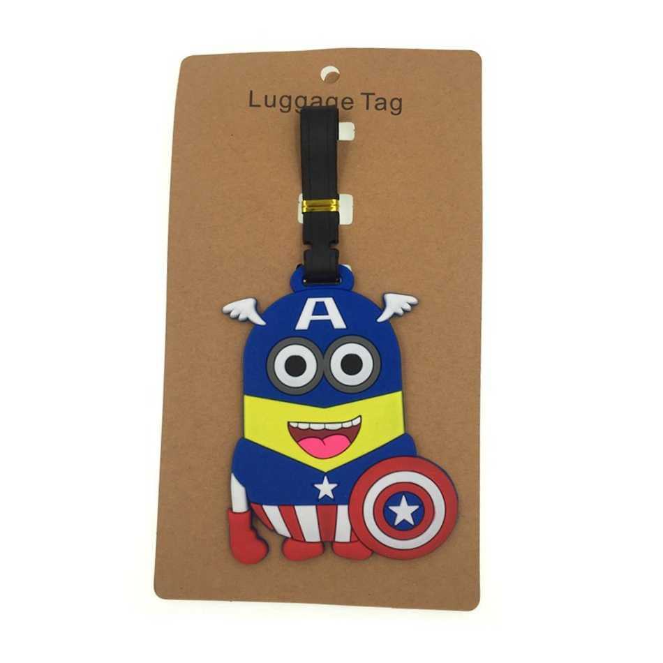 Cartoon Captain America Bagagelabel Reizen Accessoires Silicagel Koffer Id Adres Holder Bagage Boarding Tag Draagbare Label