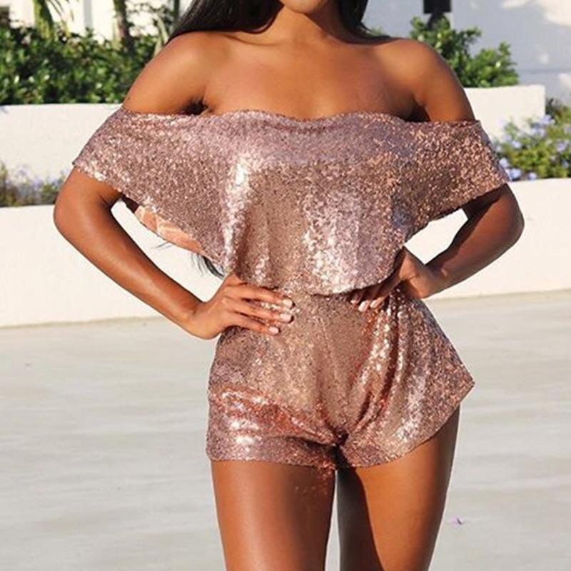 2018 летние Для женщин сексуальная Slash шеи с плечами ASOS пикантные летние шорты Bling золота Комбинезоны для женская одежда ...