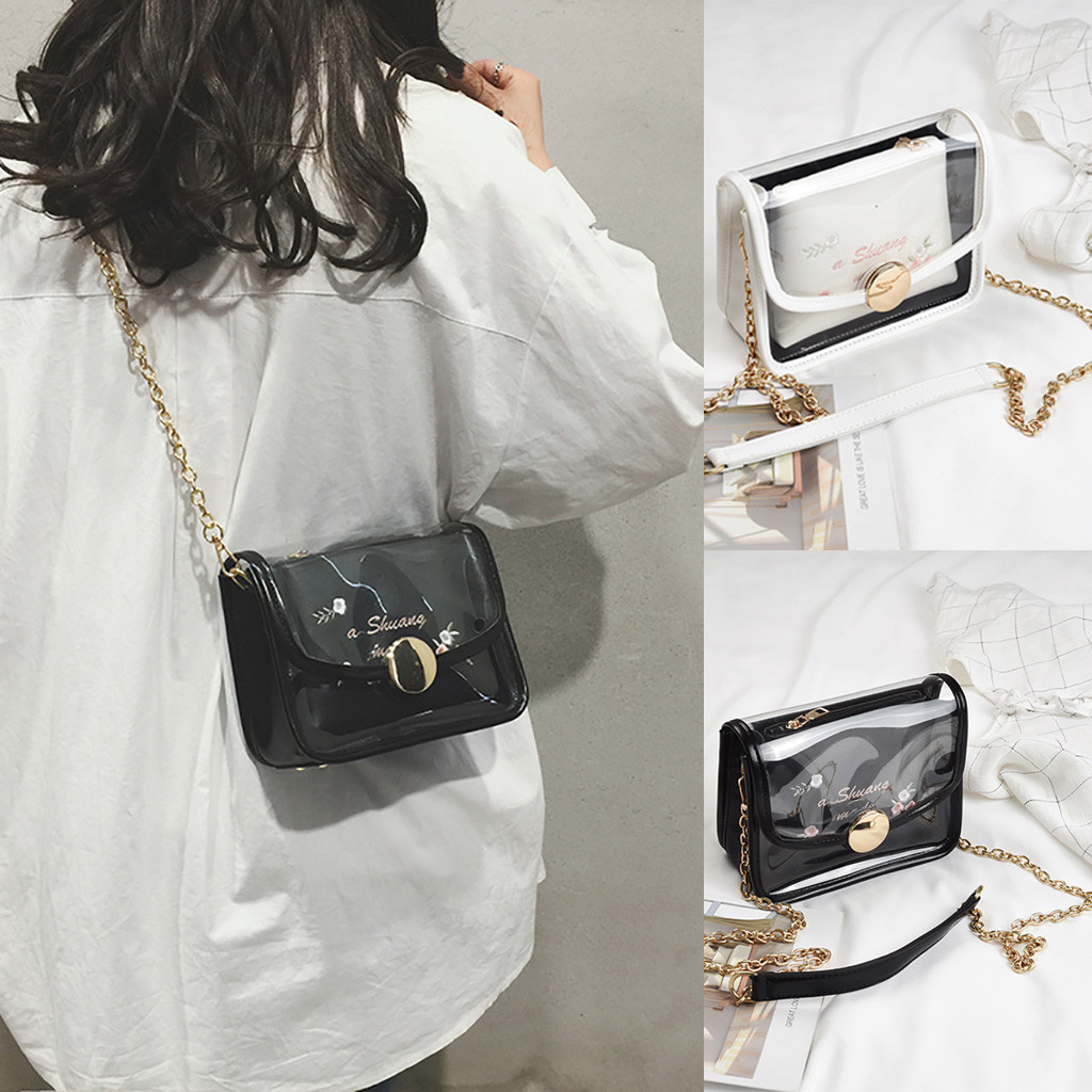 Bags for women Transparent Bag Embroidery Package  Chain Messenger Bag for women Bolsos mujer de marca famosa 2019(China)