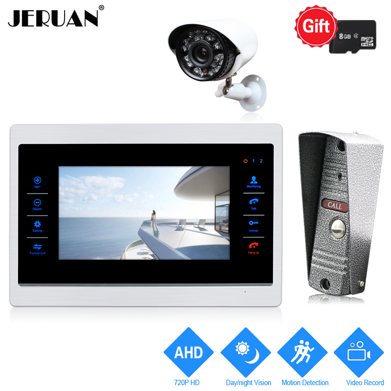 JERUAN 720P HD Motion Detection 7`` Digital Video Door Phone Intercom System Record Monitor +Metal Mini Camera +AHD CCTV Camera