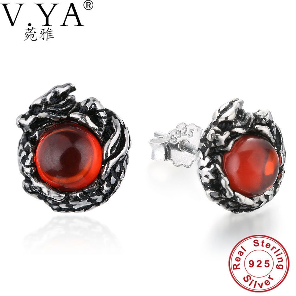 Vya Pure 925 Sterling Silver Earrings 2017 High Quality Vintage Dragon  Earrings Fashion Unisex