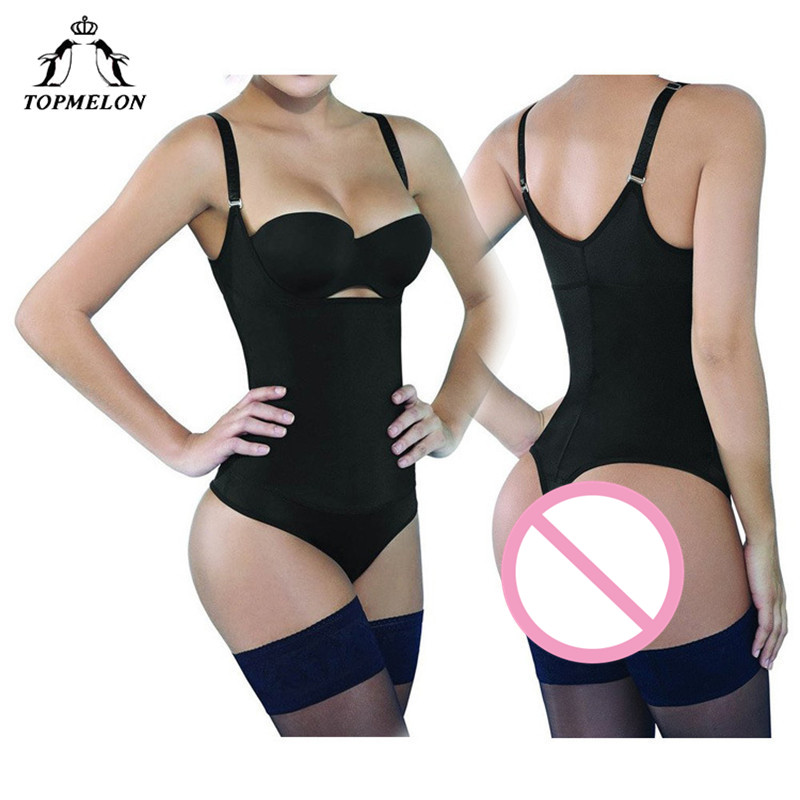 TOPMELON Waist Trainer Modeling Strap Body Shaper Bodysuit Slim Shapewear Underwear Women Latex Plunge U  Underbust Butt Lifter
