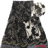 Black Embroidered Fabric Net Stones Wedding Lace Applique Fabric For Evening Dress QF2714B 5