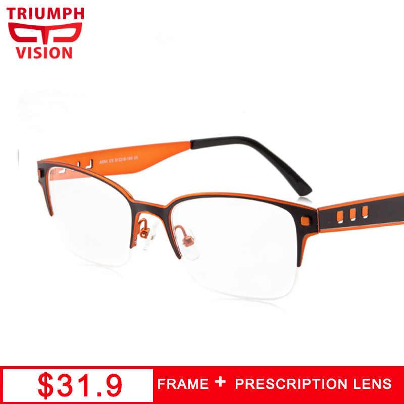 d7fe0f8941 TRIUMPH VISION Designer Frames Prescription Glasses Men Myopia Eyeglasses  Semi Rimless Multifocal Progressive Reading Glasses