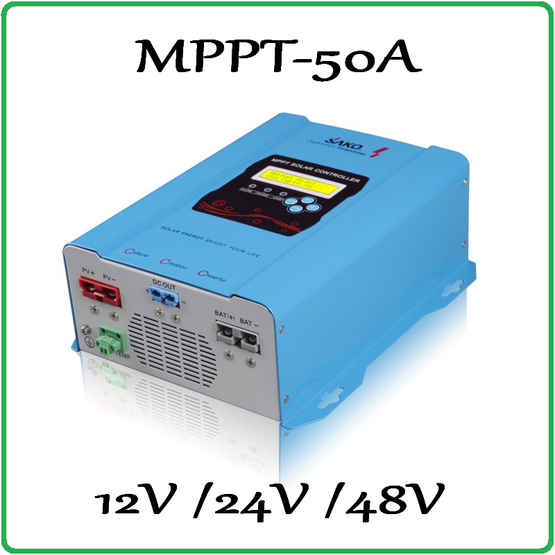 99% Peak Efficiency MPPT LCD Solar Charge Controller 50A 12V 24V 48V solar Panel battery charger regulator 50A SAKO cheap saipwell high power solar charge controller 12v 50a smg50