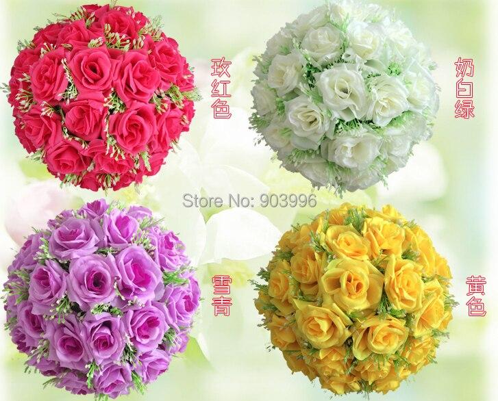 Gros étoiles style soie Rose pomandre fleur boule nuptiale mariage décor faveur fête baiser boule mariage bouquet
