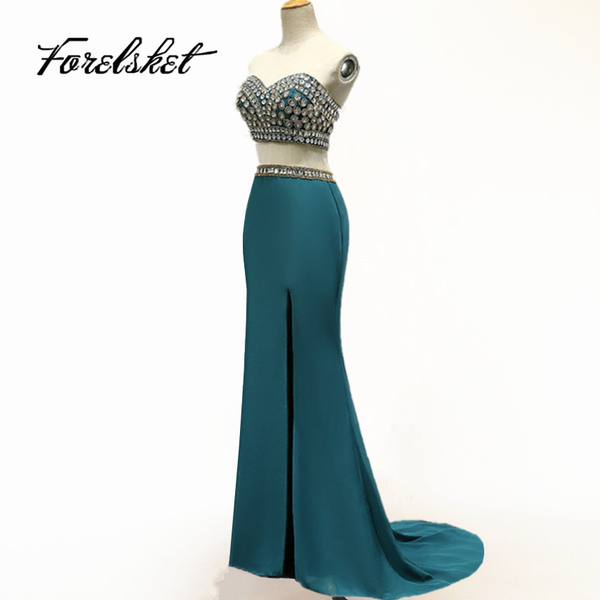 Crystal Rhinestones Crop Top   Prom     Dresses   2019 New Arrival Diamonds High Slit Mermaid Long 2 Piece Two Piece   Prom   Party Gowns