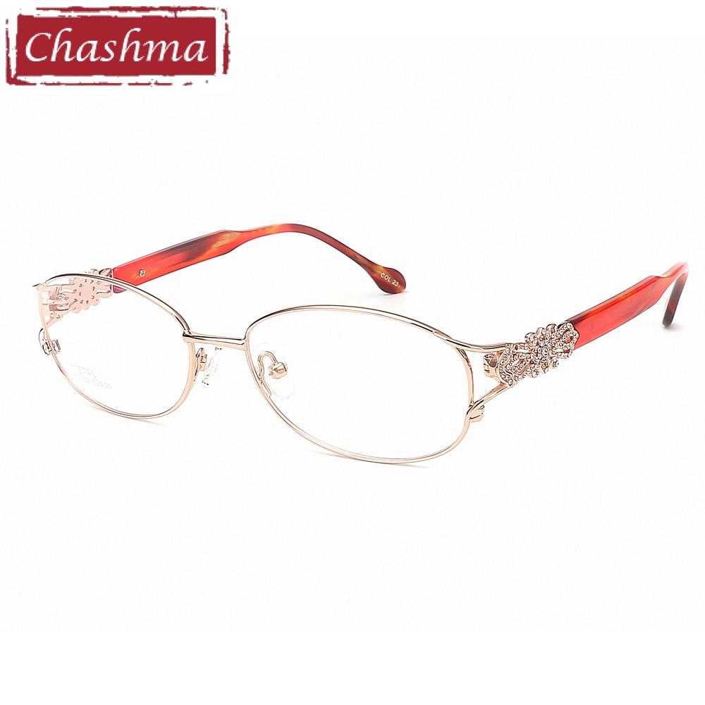 Chashma Fashion Pure Titanium Frame Lentes Opticos Gafas Top Quality Titanium Frames Light Eyeglasses Rhinestone Glasses