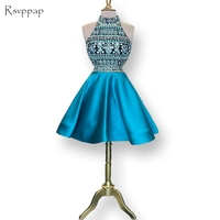 Милые 8th Класс Выпускные платья sparkly линии высокое Средства ухода за кожей шеи бисера Кристаллы Синий сладкий 16 Короткие вечерние платья 2017