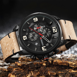 Image 3 - CURREN Fashion Design Male Clock Chronograph Men Sports Watches Waterproof Leather Strap Quartz Mens Watch Relogio Masculino