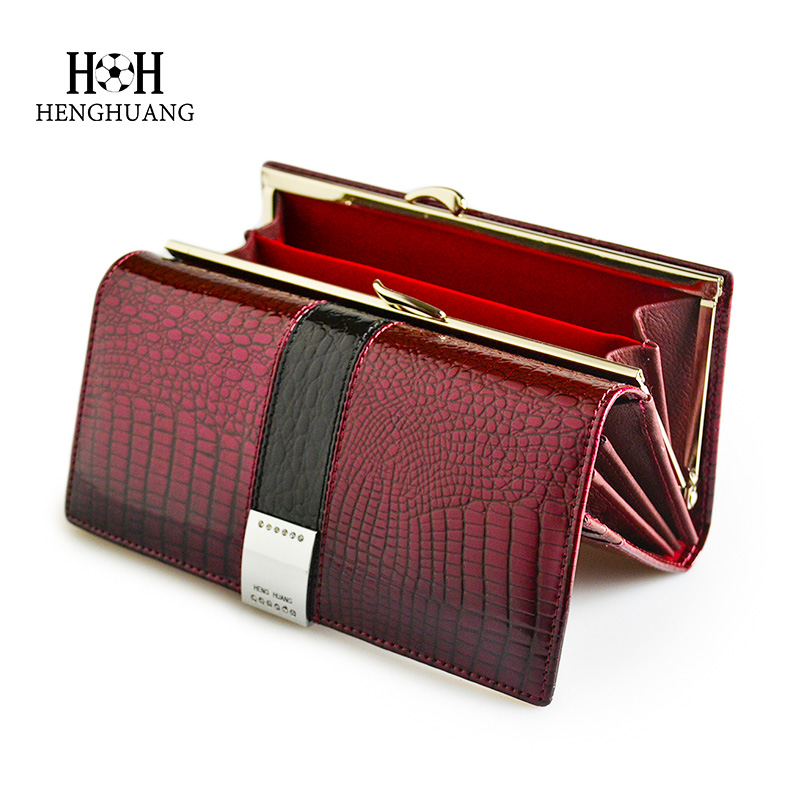 HH Luxury Genuine Leather Womens Wallets Patent Alligator Bag Female Design Clutch Long Multifunctional Coin Card Holder Purses