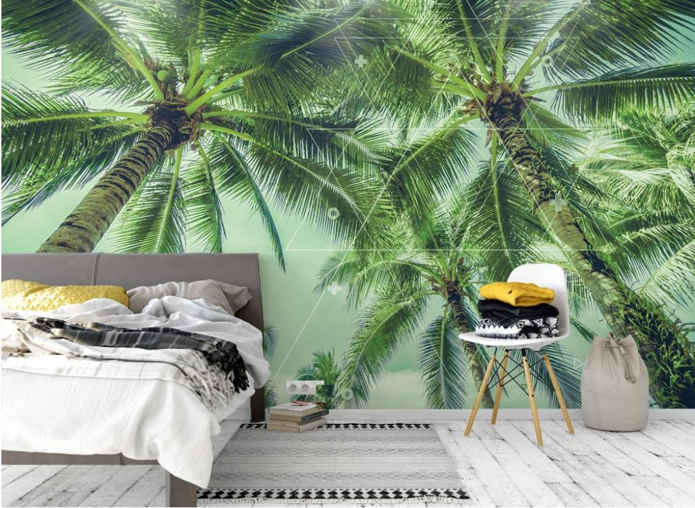 Custom Wall paper For Kids Room 3d Wallpaper Non-woven Mural Coconut tree Background Wallpaper Decoration Painting Modern custom baby wallpaper snow white and the seven dwarfs bedroom for the children s room mural backdrop stereoscopic 3d