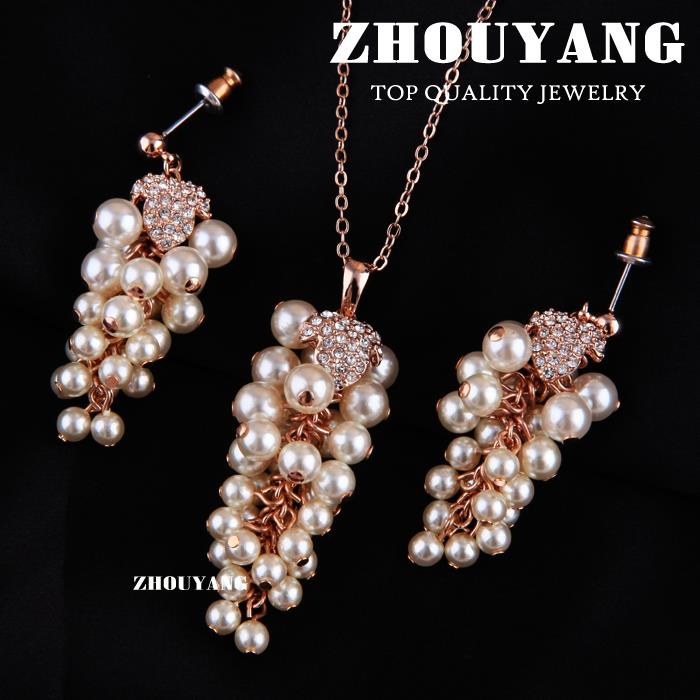 ITALINA Rose Gold Color Noble Elegance Grape Shape Jewelry Necklace Earring Set For Women Gift S025