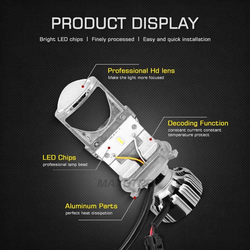 H4 LED Bulb with Mini Projector Lens H4 LED Conversion Kit 9600LM Automobiles Hi/Lo Beam LED Headlight Bulbs 12V 24V 6500K White