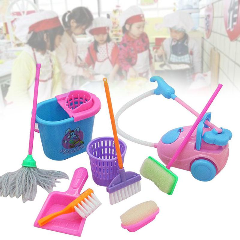 9Pcs/Set Pretend Play Toy Cleaning Mop Broom Tools Pretend Play Furniture Toys Kit Toys For Children Girls Kids 32pcs set repair tools toy children builders plastic fancy party costume accessories set kids pretend play classic toys gift