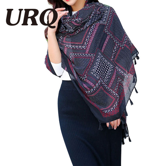 2016 New Design Winter Woman Long Tassel Scarf  Scarves Geometry Plaid Print Lady Big Size soft Viscose Shawls V9A18592