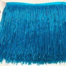 Небесный кристалл синего цвета ручной работы 15 см широкая бисерная бахрома обрезка, 5 ярдов, около 270 нитей бисера/yard SGTM18