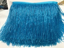 SKY blue color crystal Handmade 15cm wide beaded fringe trimming,5yard, about 270 beads threads/yard SGTM18