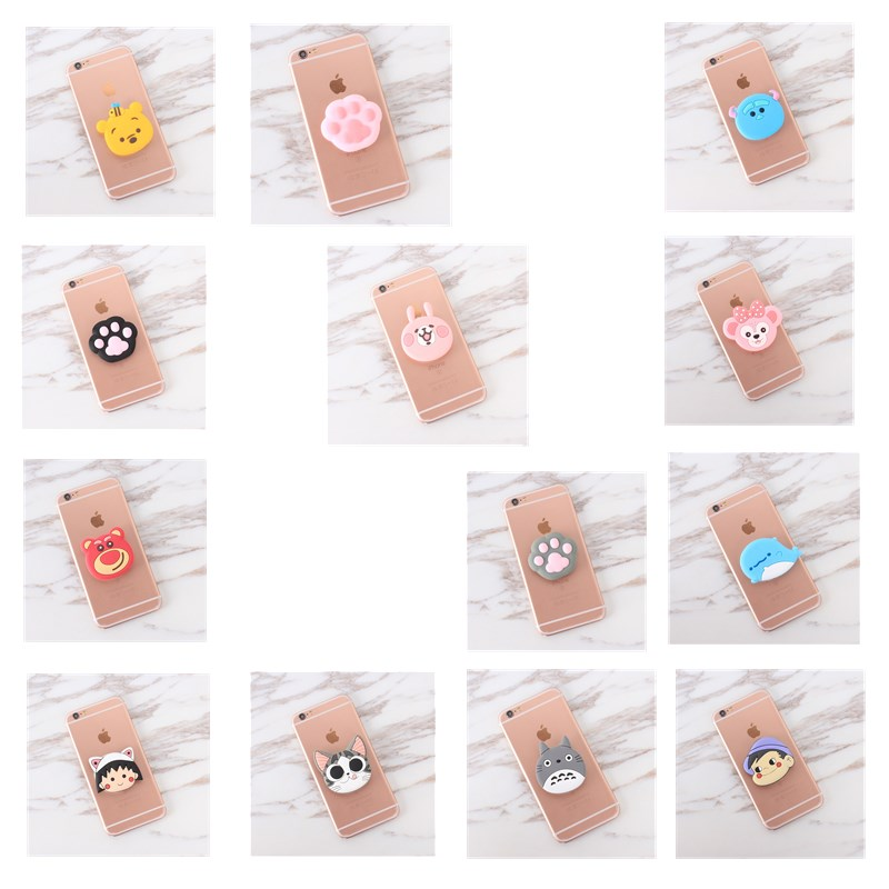 Silicone Cartoon Phone Holder Expanding Stand Finger Holder For Samsung Xiaomi universal Smartphone tablet Cellphone Stand Car phone