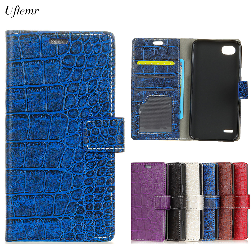 Uftemr Vintage Crocodile PU Leather Cover For LG Q6 Protective Silicone Case For LG Q6 Wallet Card Slot Phone Acessories