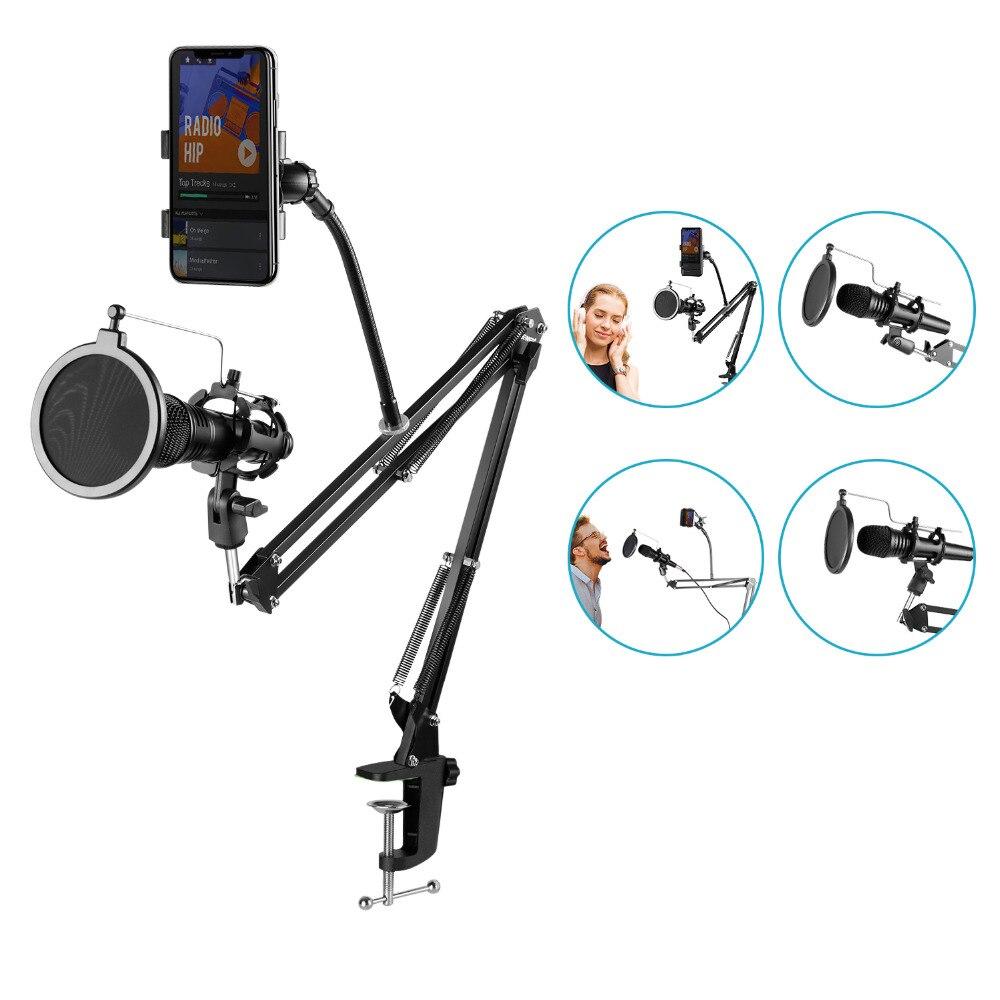 Neewer Einstellbare Aufnahme Mikrofon Suspension Boom Scissor Arm Stehen + Mic Wind Pop Filter + Shock Mount + Telefon Halter schwarz