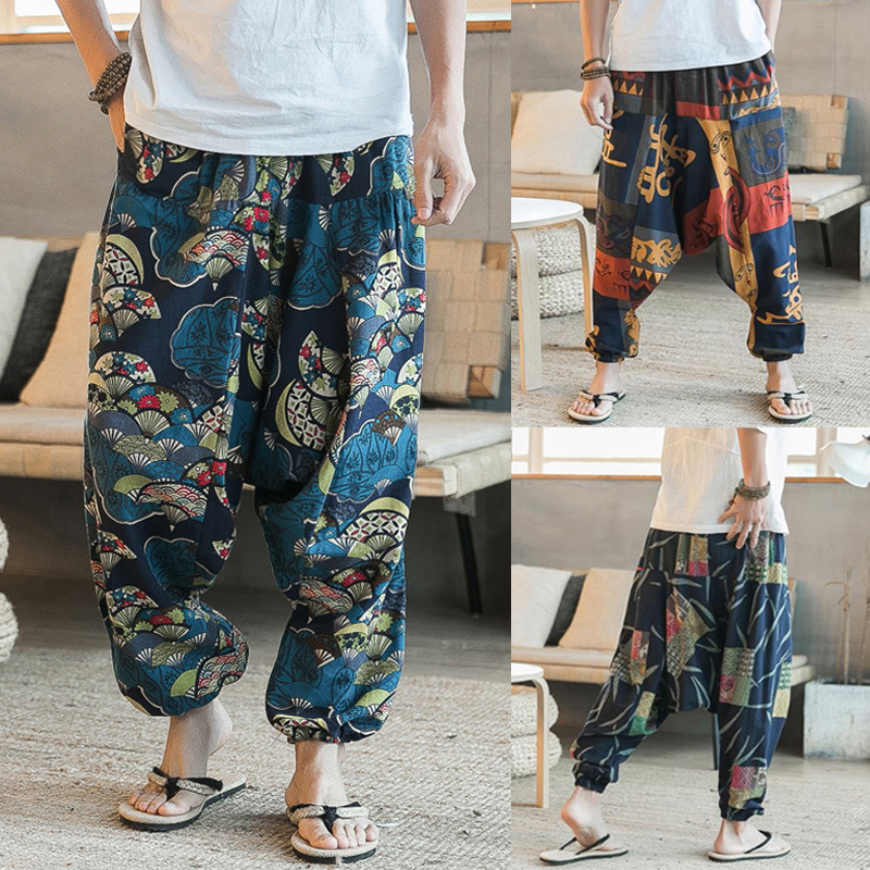 INCERUN Chinese Style Harem Pants Mens Cotton Cross-pants Hip Hop Street Wear Dance Trousers Loose Punk Pants Casual Baggy Pants