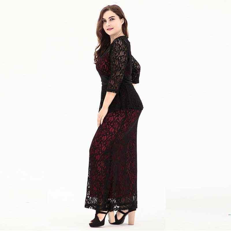 7d549b883bc ... 2019 осень и зима женские большие размеры элегантные кружевные длинные  платья женские 6XL Большие размеры платья ...
