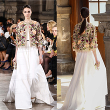 Lujo robe femme ete 2017 plus tamaño xs 5xl 6xl, increíble vestido de boda blanco y bordado chaqueta elegante del partido maxi largo vestido